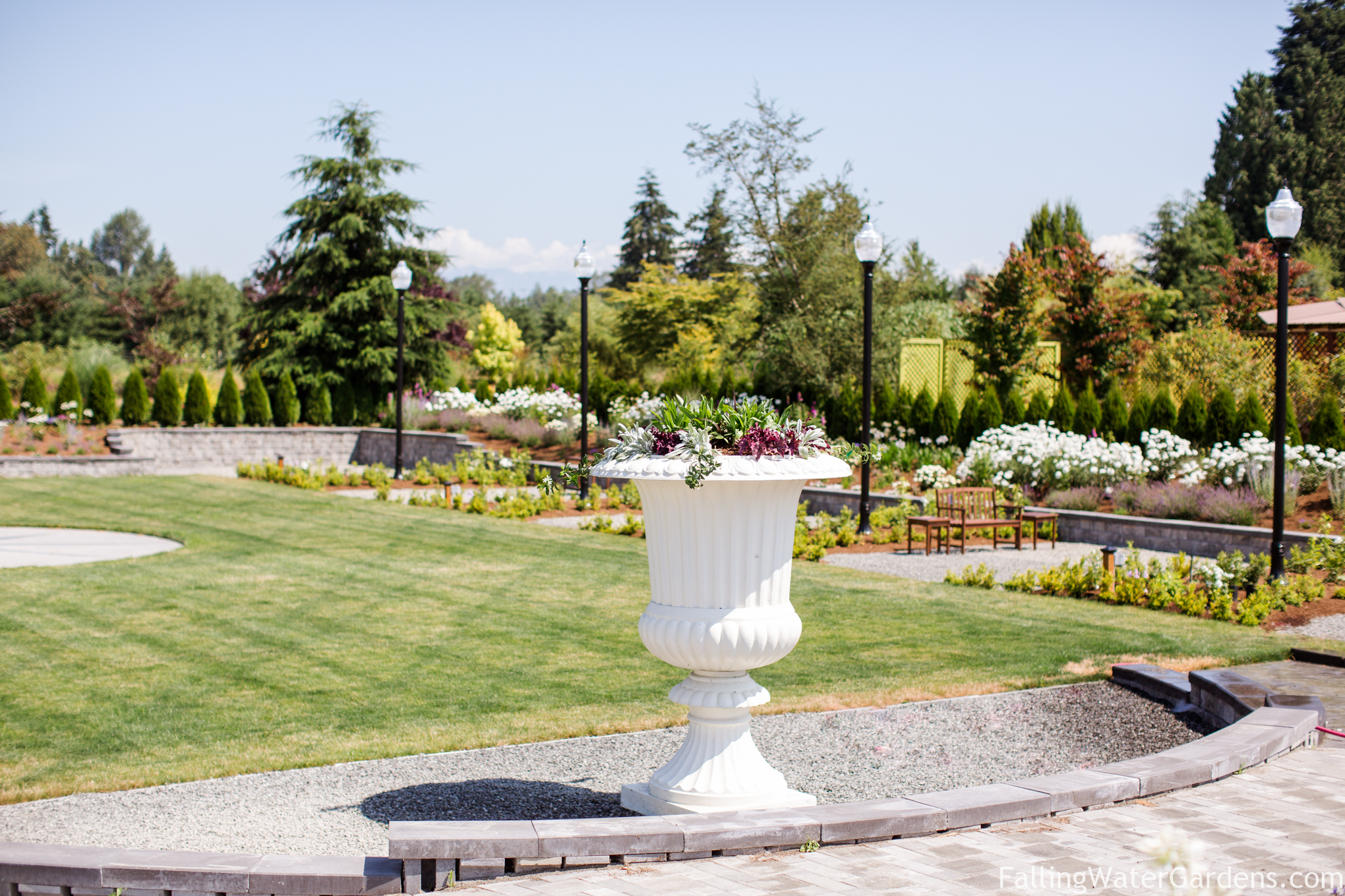 Formal sunken garden, part of the wedding venue exclusively at Falling Water Gardens in Monroe Washington