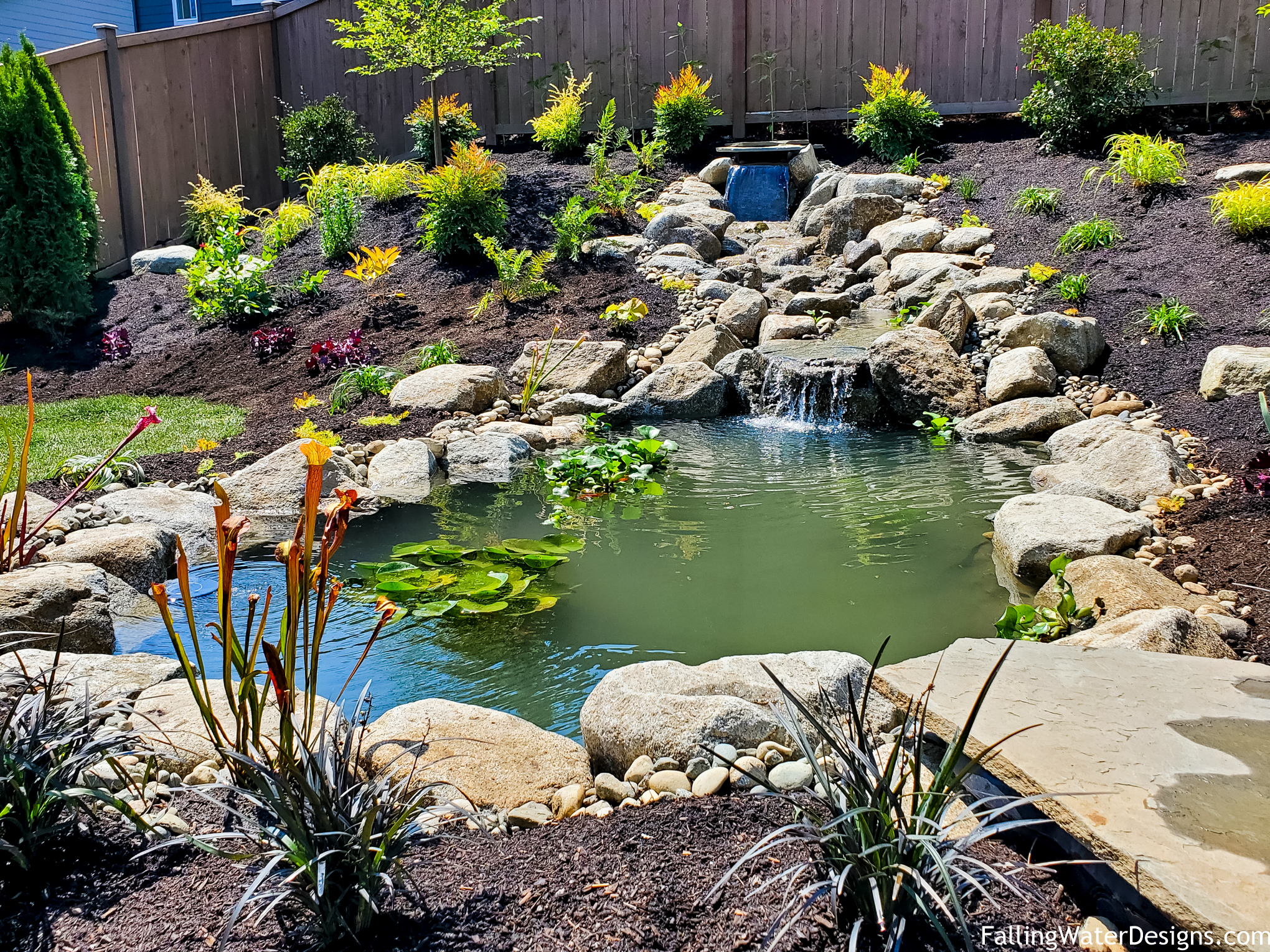 Koi pond installation by Falling Water Designs in Monroe WA serving the greater Puget Sound area, Seattle, Woodinville, Edmonds ©Falling Water Designs